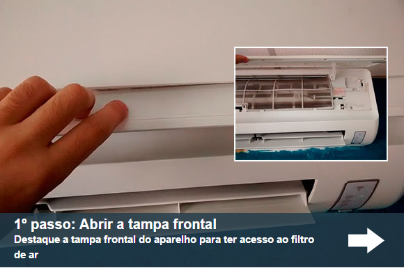 Abrir a tampa frontal do ar condicionado